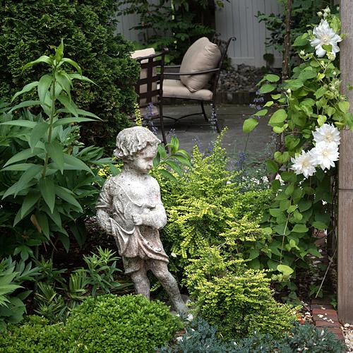 Garden statuary among plantings