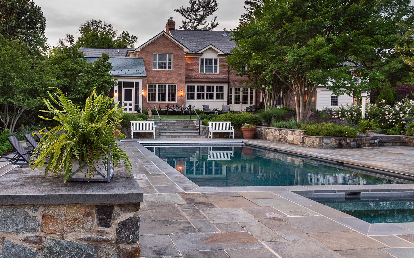 Patio, pool, steps and retaining walls