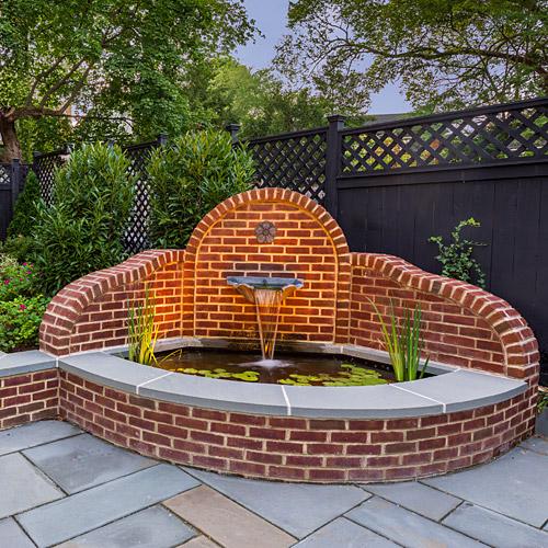 Decorative corner brick fountain