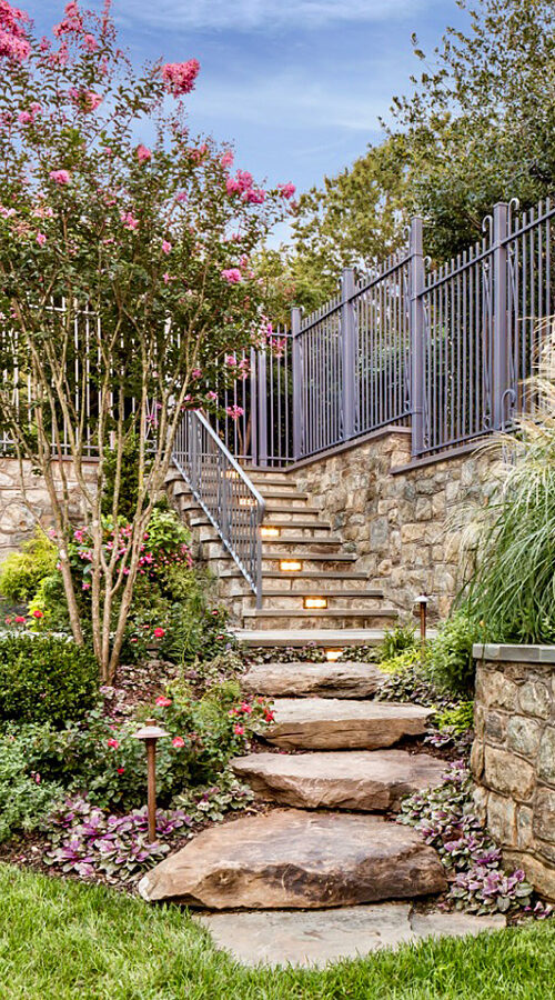 Stone steps with lighting