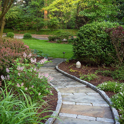 Curved garden path