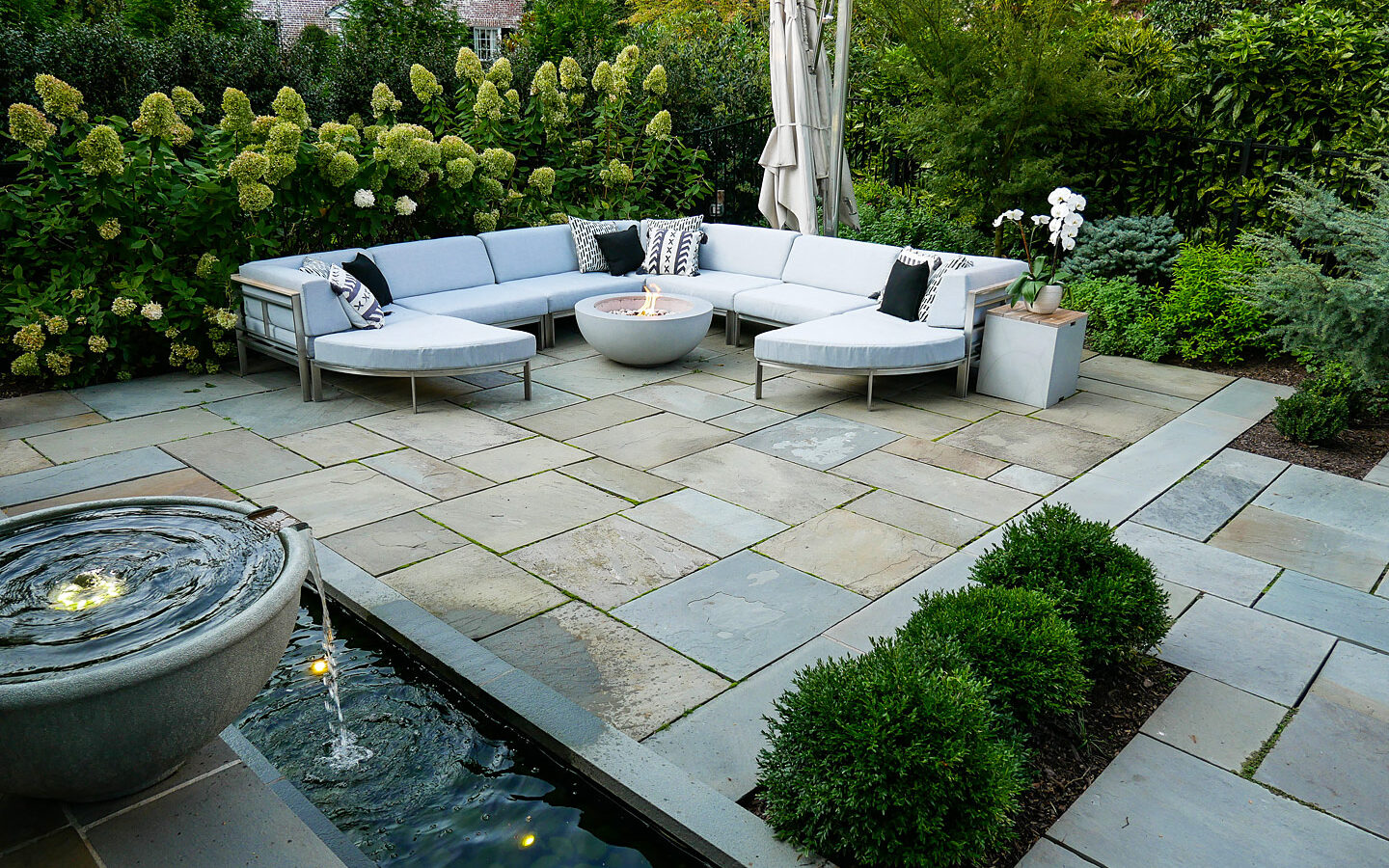 Patio with fountain and sitting area