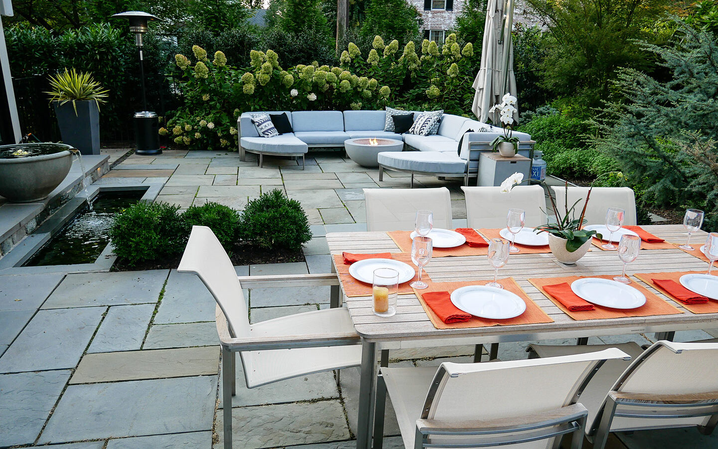 Patio with Dining, Lounging and fountain areas