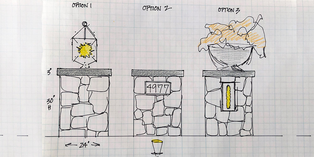 Drawing of 3 options