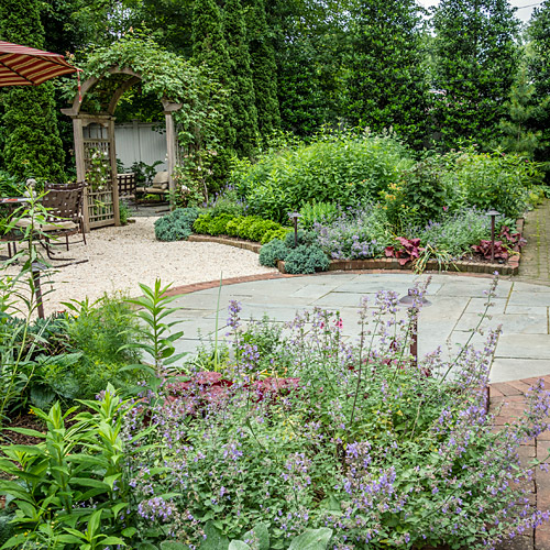 Garden with gravel, flagstone and brick surfaces