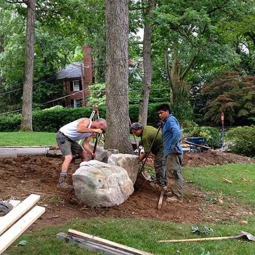 Moving a boulder